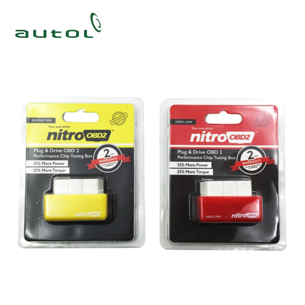 DHL Fast Shipping !!! 50PCS/Lot Plug and Drive NitroOBD2 Car Chip Tuning Box For Benzine and Diesel Cars Nitro OBD2