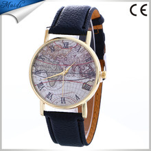 Ladies Men Fashion Vintage Casual World Map watch Women Analog Quartz Wrist Watch LW065