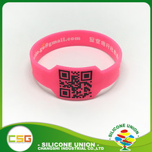 Customized figured printed qr code silicone bracelet for keepsakes