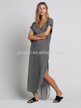 Women clothing manufacturer printed wholesale short sleeve long maxi dress