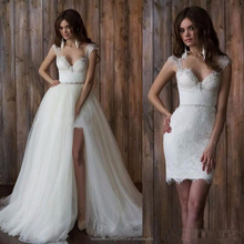 Cap Sleeve Open Back Detachable Skirt Two Piece White Lace Wedding Dresses MW2552