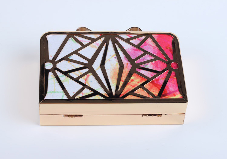 2017 ladies metal clutch bag with printing fabric unique clutch purse evening bag