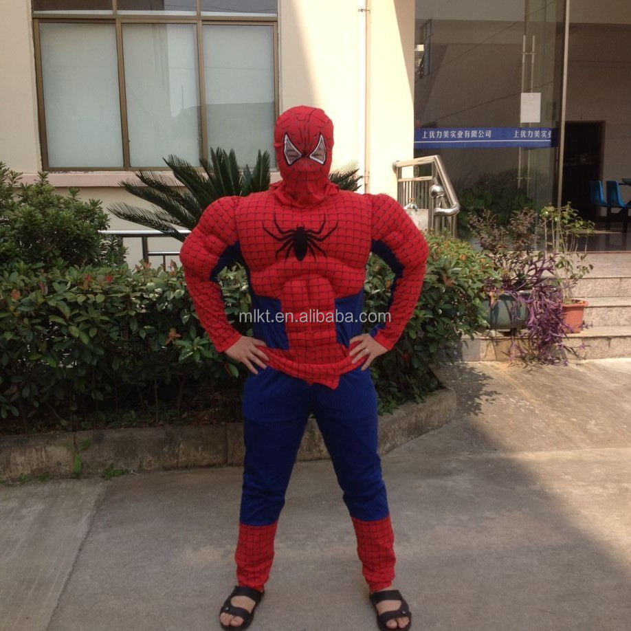 Popular halloween superhero adult muscle spiderman costume for party