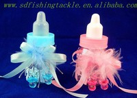 Yiwu SAUNDAN lovely beini with lace and feather plastic nursing bottle of shower gift for for baby party