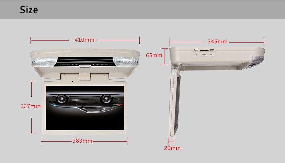 "Multi-function car dvd USB/SD/Audio input fhd 1080p 15.6"" car roof mount DVD player"