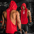 OEM wholesale men's bodybuilding dri-fit stringer back cut off hoodie sleeves sweatshirt