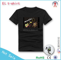 1000designs DJ dance light up and down el shirt/ custom el equalizer panel /music activated led t shirt