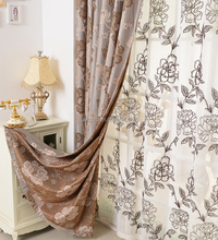 Chinese thai silk embroidered curtains for manufactured home jacquard curtain
