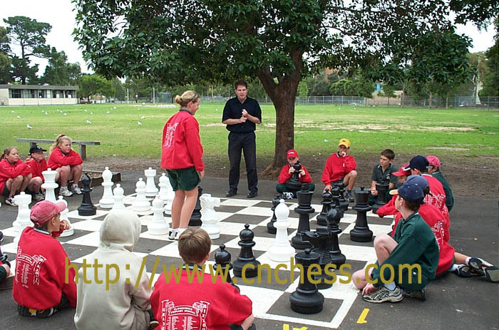giant chess set, outdoor chess set, garden chess set