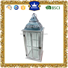 wedding decoration and home decoration white hurricane wooden candle holder lantern