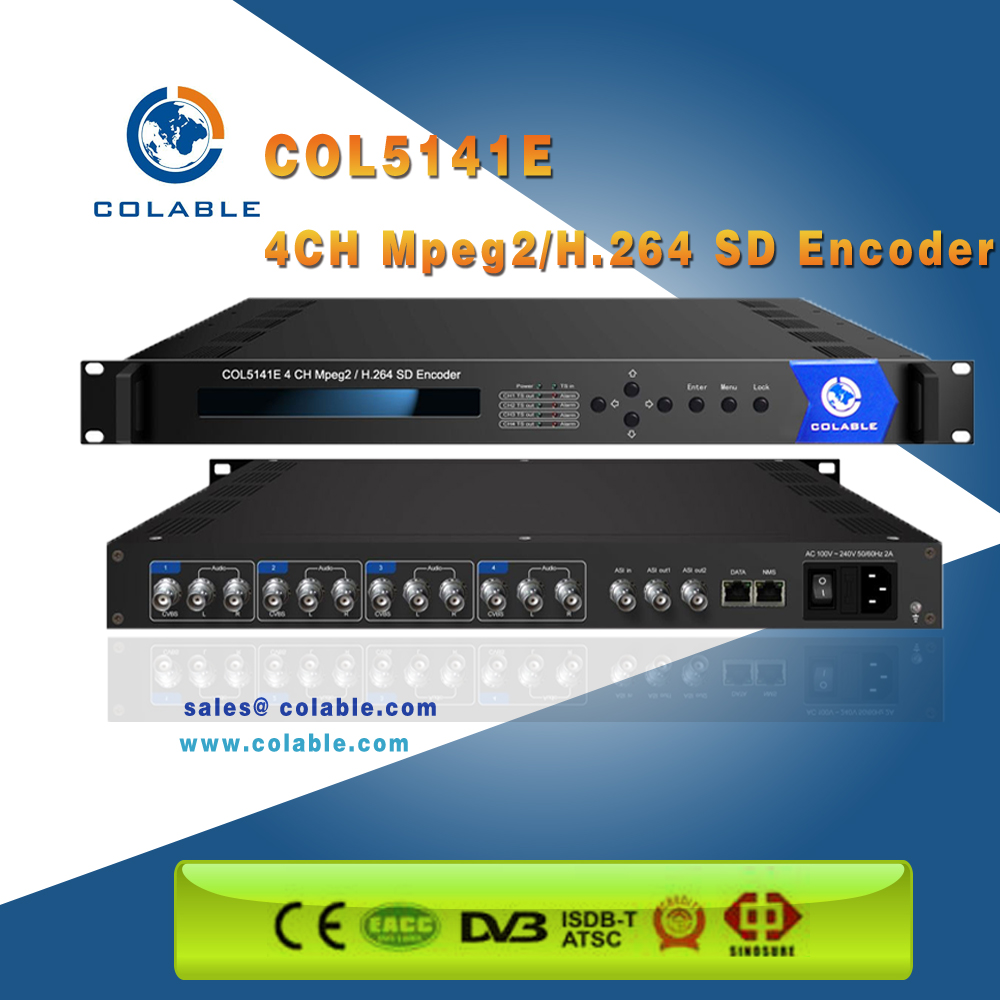 COL5141E 4 CH Digital AV to IP Converter Encoder with MPEG-2 and H.264 encoding