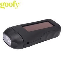 Solar Powered Hand Crank Flashlight Survival Gear Rechargeable Self Powered Flashlight Torch Dynamo High Power Led Flashlight