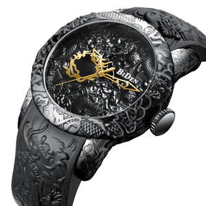 BIDEN BD-0129 Brand Luxury Gold 3D Sculpture Dragon Quartz Men Watches