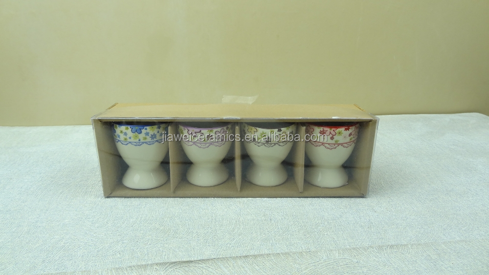 hot selling blue flowers ceramic eggcup