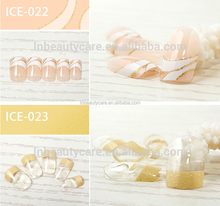 Promotional!!!3D Colorful press stick on Artificial french nails with glue that can mixed type