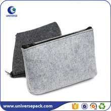 Customized handmade zippered felt cosmetic bag with compartments