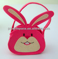 2018 fashion new nonwoven polyester felt cute Easter bunny design sunny girl bag for picnic toy gift storage OEM ODM China facto