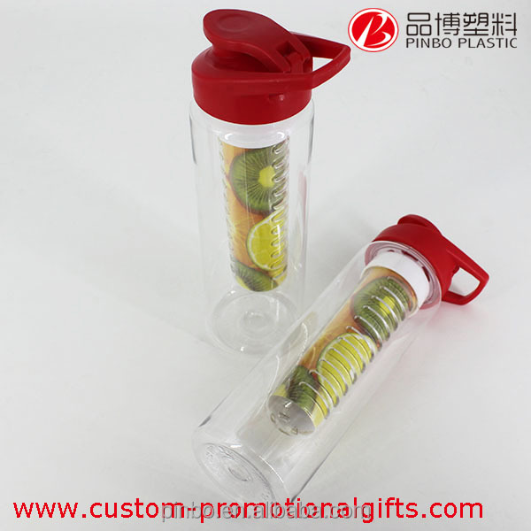 fruit infuser water bottle,plastic sport drinking bottle water bottle,plastic fruit juice bottles with red cap