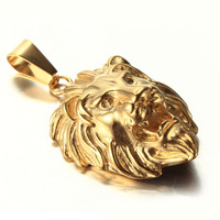 High quality men jewellery stainless steel gold lion head pendant
