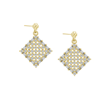 FZ4-S08C wedding jewelry party gold plated silver earrings with cz stone for women