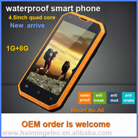rugged smart phone 4.5inch quad core waterproof model A6