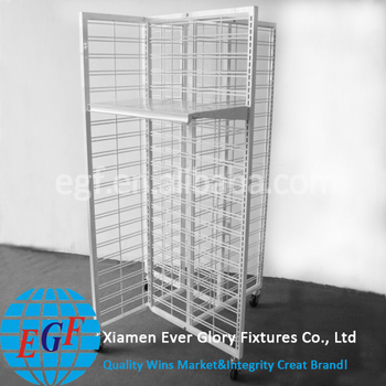 Heavy Duty 4 Sided Mobile Gridwall Wire Mesh Panel Metal Display Shelf