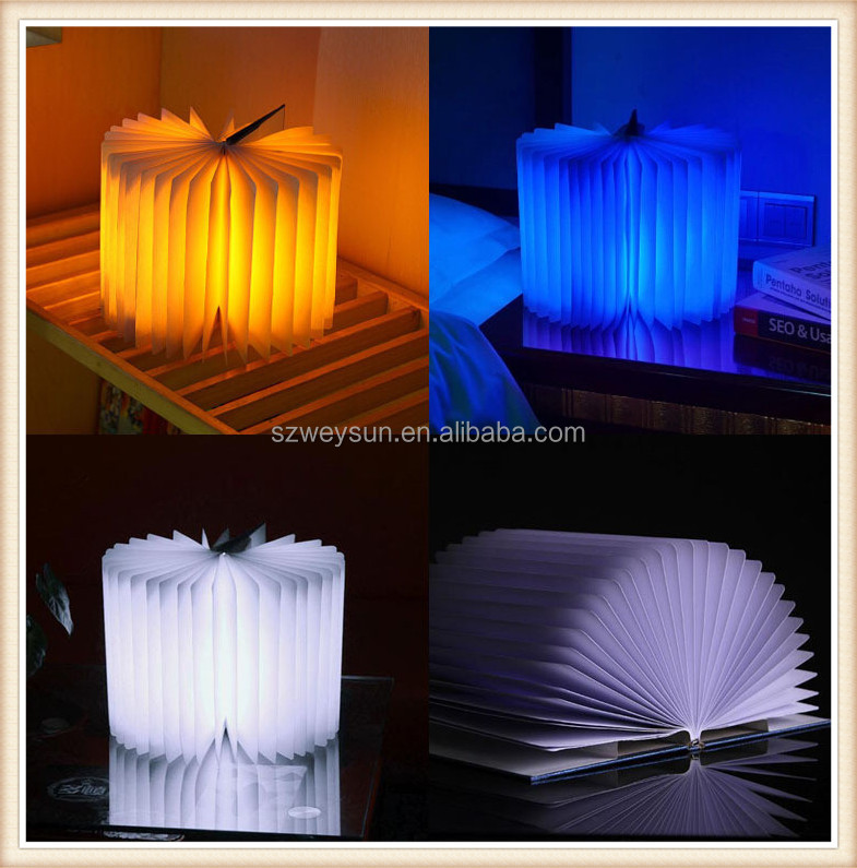 Home Night Light Top Origami Foldable LED Book Lamp Flip Folding Book Light Colorful USB Rechargeable Book Shape Light