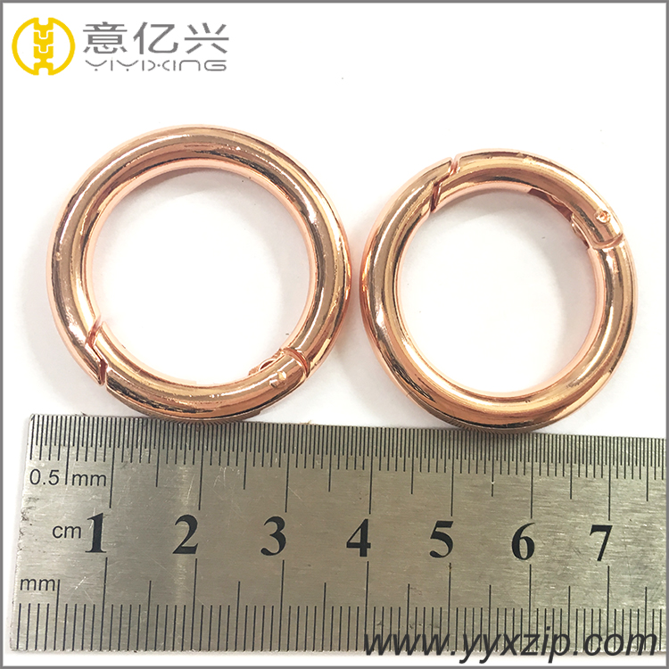 Wholesale rose gold metal wire iron o ring for bags strap