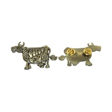 Cow Antique Brass Metal Pin Badge