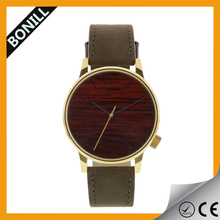 Women's Vintage Wood Grained Surface Dial Watch Circular High Quality