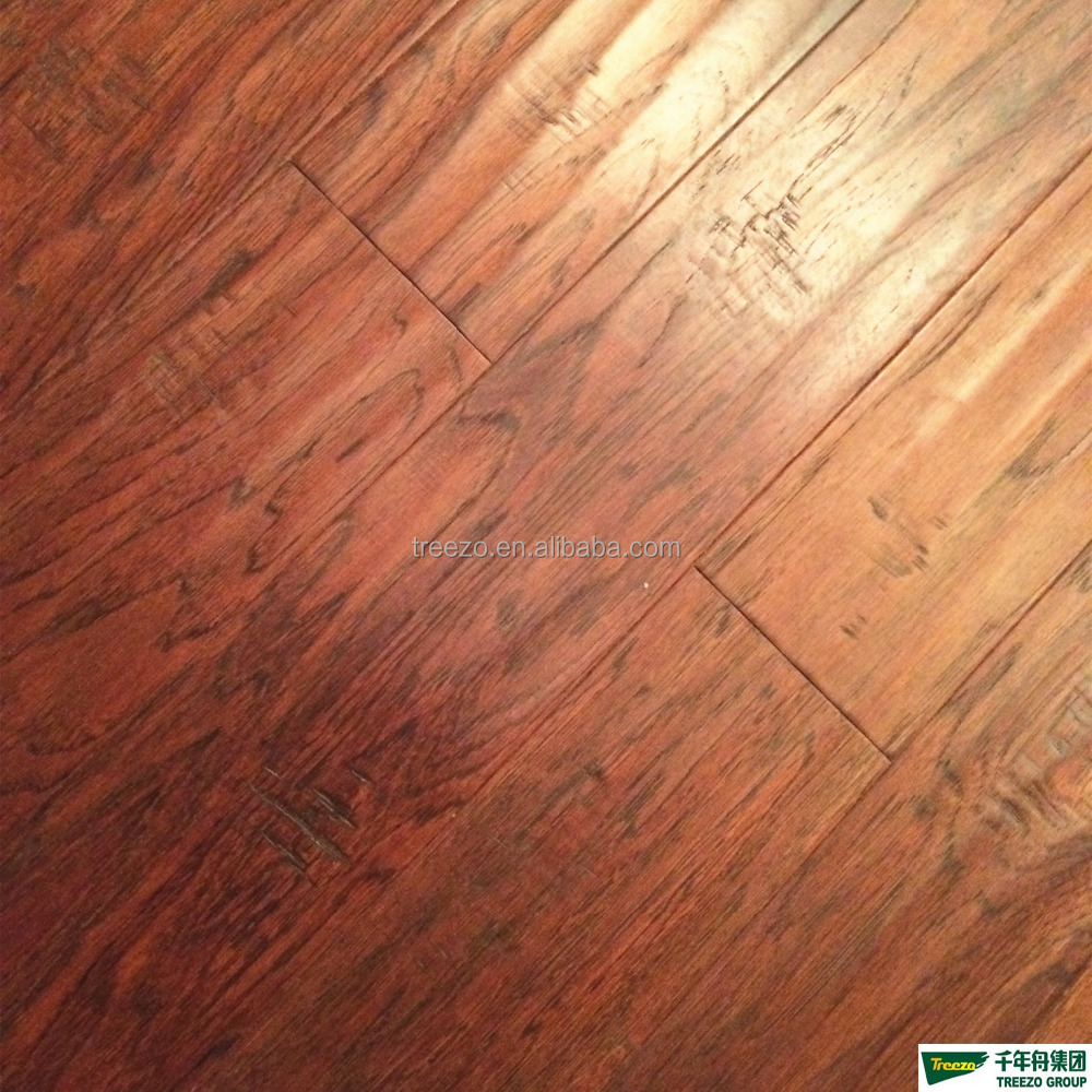 factory price Multilayer 12mm Birch engineered flooring Narra Yelllow color