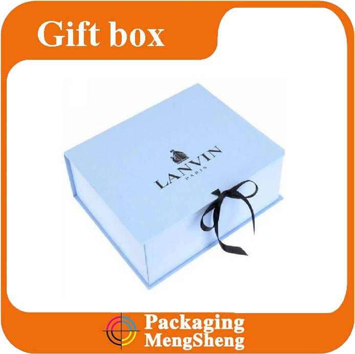 Made in China Factory Logo Printed Custom Cheap gift paper box/ cardboard box with ribbon for packaging