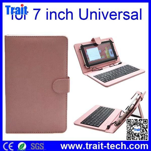 7 Inch Tablet PC Crystal Texture PU Leather Keyboard Case with Holder and Micro USB Cable,7 inch keyboard case for android table