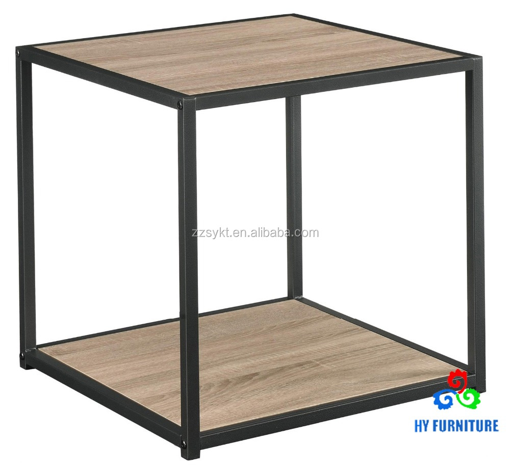 Modern bed night stand metal frame wooden sofa square cube side table end table
