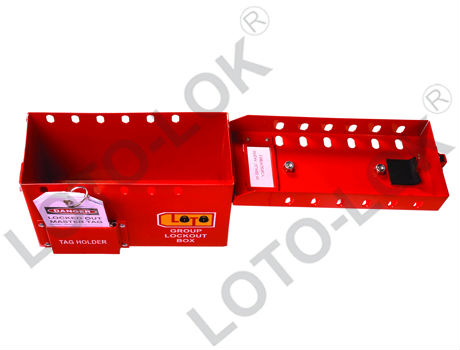 Group Lockout Box, Steel, Red Color