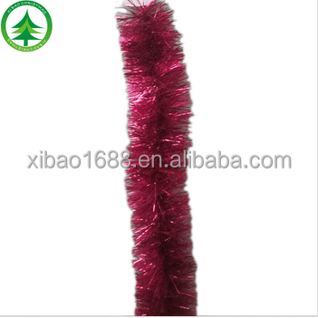 Wholesales promotional christmas ornaments red christmas tinsel garland christmas wired tinsel garland