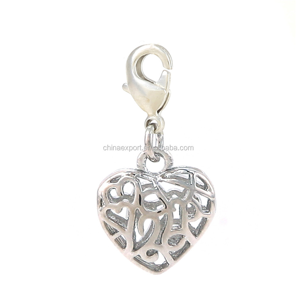 Silver 3d heart pendant with lobster clasp for women necklace pendant