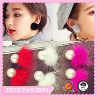 Latest Design Cute Girls Fashion Pearl Earring ,Ladies Pom Pom Earrings Designs Picture
