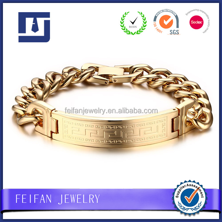China supplier men's accessories religious bracelets solid gold bracelet with pattern