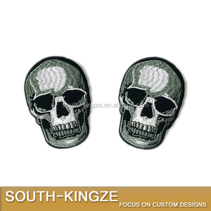 DIY Black Skull Motorcycle Biker Rock Punk Embroidered Iron on Patch