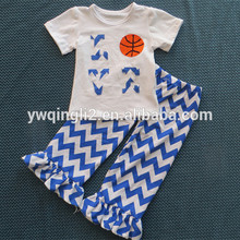 Chevron suit short sleeve shirt basketball design summer kids boutique clothing cheap china wholesale clothing