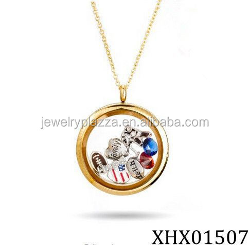 Gold Plated Sterling Silver CZ Round Build A Charm Locket Charming Necklace In European