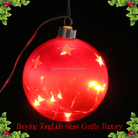 Red Led Glass Christmas Ball With