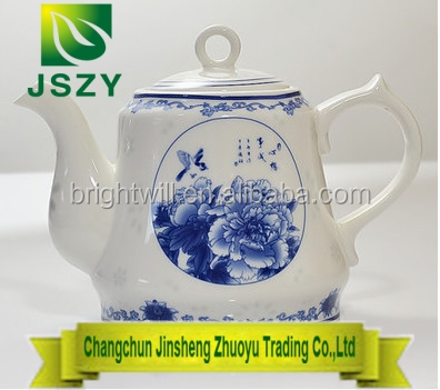 Ceramic Chinese traditional blue and white peony teapot, handmade large beautiful ceramic teapot
