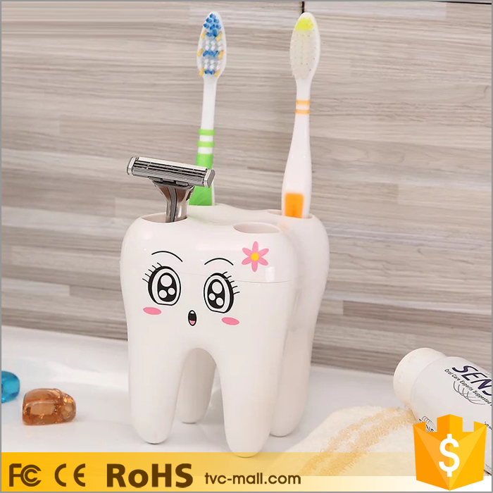 Cute Cartoon Tooth Shaped Toothbrush Holder for Children