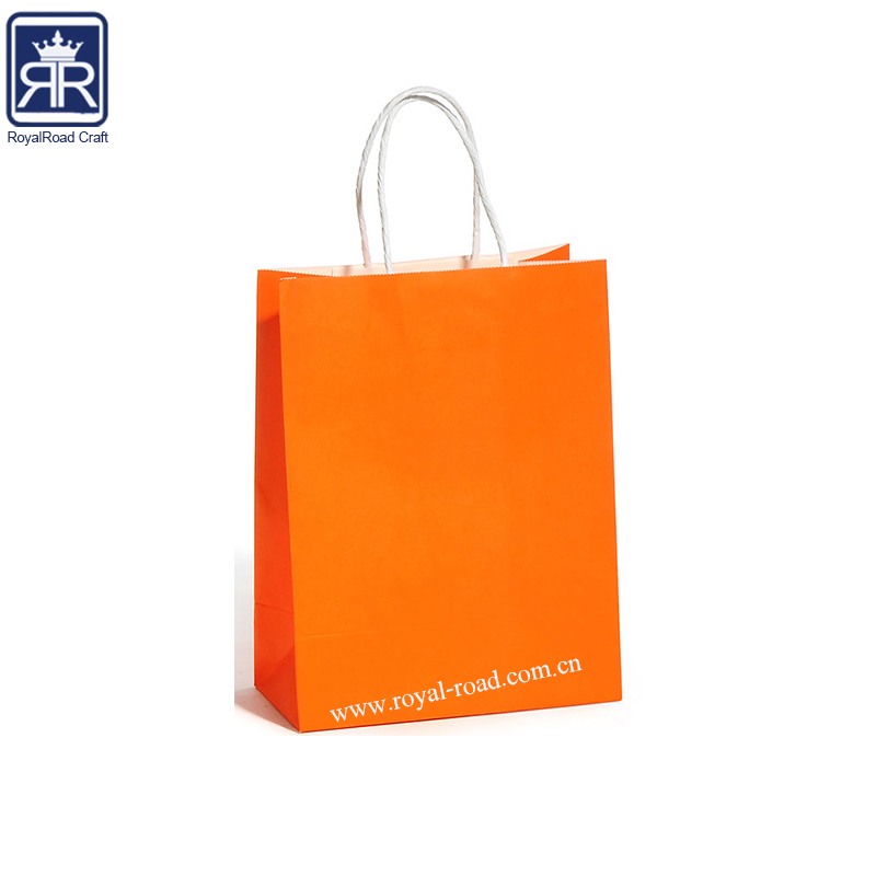 062316 Multi wall Luxury orange color shopping print custom paper bag kraft paper shopping bag with paper handle