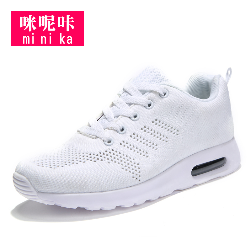 Flyknit mesh shoes wedge sneakers running shoes for women