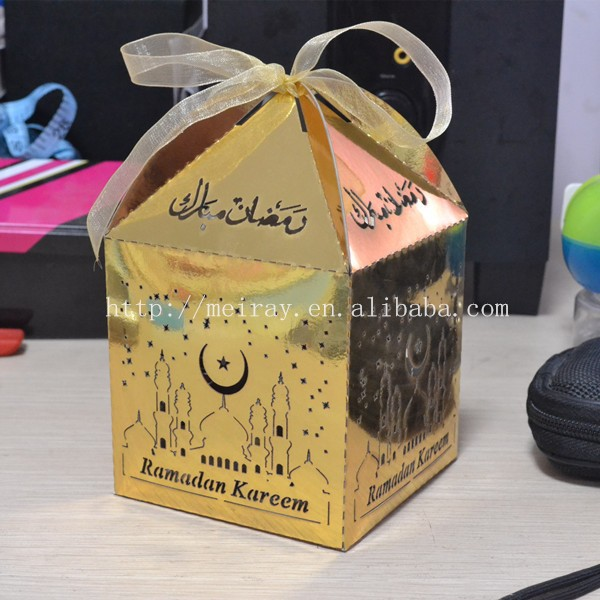 gold favor boxes for ramadan,wholesale custom islamic ramadan gifts box laser cut