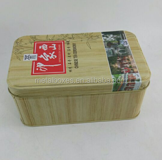 Hot Sale Metal Rectangular Tea Tin Can Wooden Color Tin Box Gift Packing Boxes