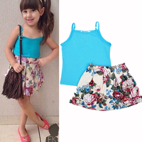 2015 New arrive Children Girls Blue Vest t shirt flower skirt 2pcs Set Outfits Sets Kids Cloth Clothing Suit Princess baby set
